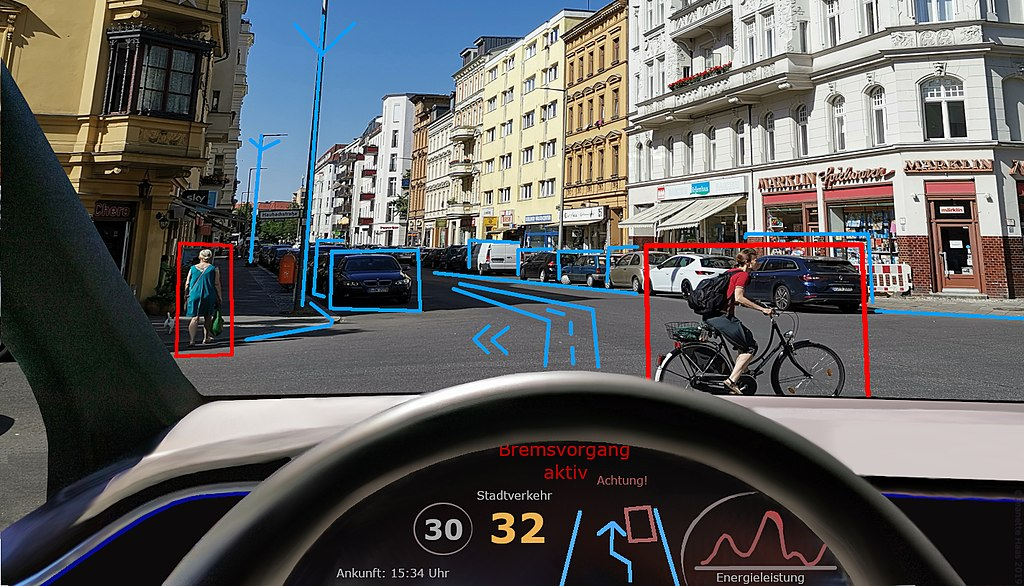 Self driving car seeing obstacles breaking automatically