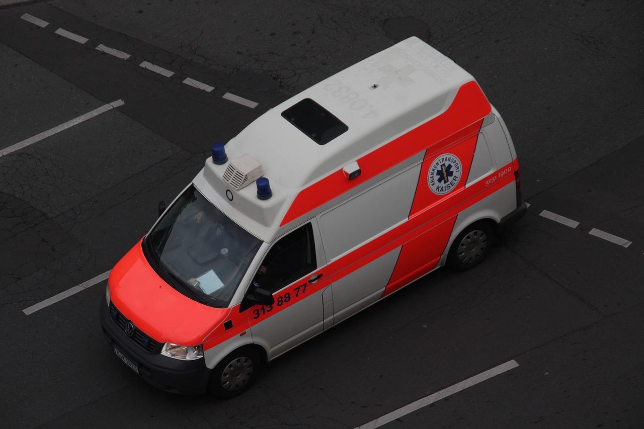 German ambulance on road